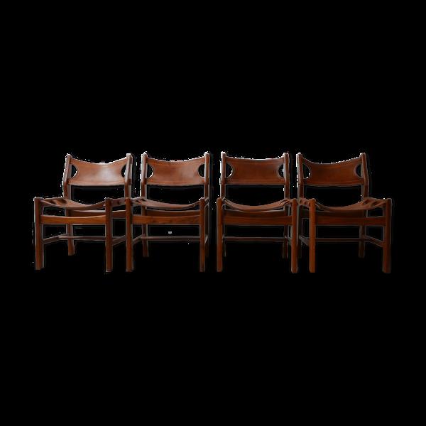Selency Ensemble de quatre chaises à manger en cuir