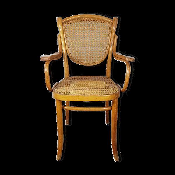 Fauteuil assise et dossier en cannage étiquette de Thonet ref sl02