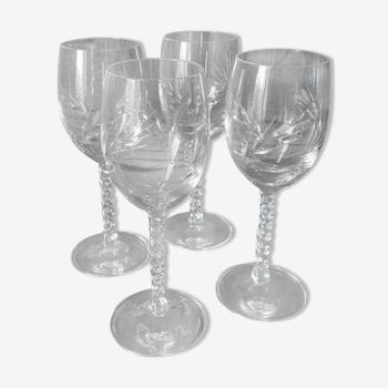 Set 4 verres à vin en cristal vintage