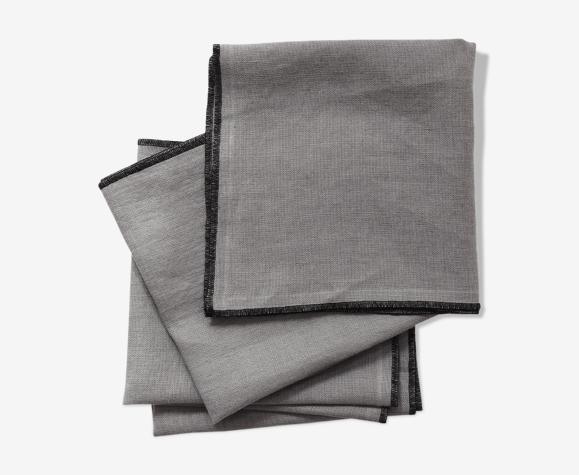 Lot de 4 serviettes gris souris en lin upcyclé