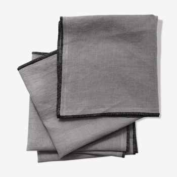 Lot of 4 towels in grey mouse linen