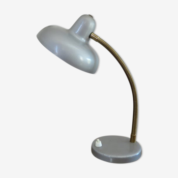 Lampe en métal gris argenté années 50 60