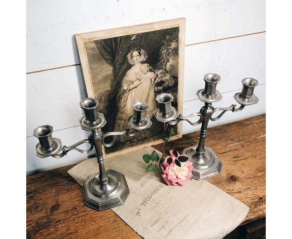 Paire de chandeliers en étain italien