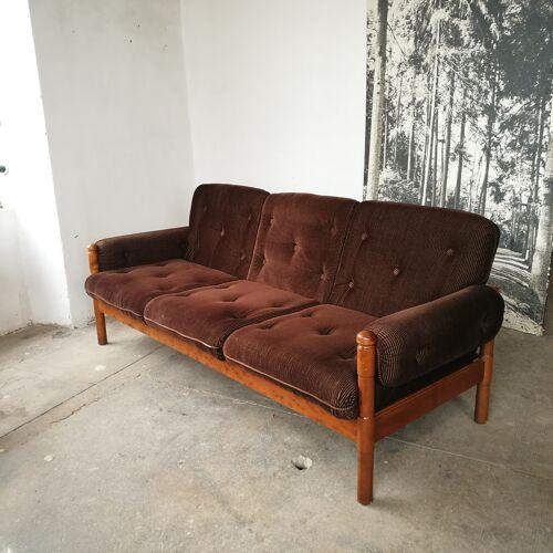 Canapé scandinave en velours marron