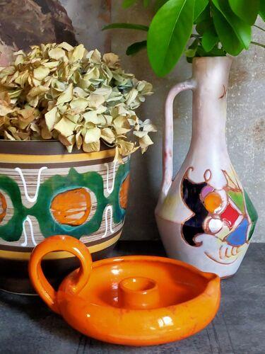 Bougeoir rat de cave en céramique vintage