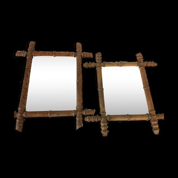 Lot de 2 miroir ancien en rotin vintage 48x40cm