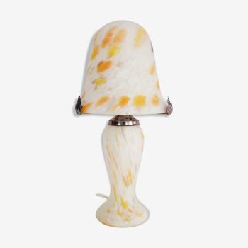 Lampe champignon en pâte de verre blanche tacheté orange à 2 feux, style Art Déco. Année 60