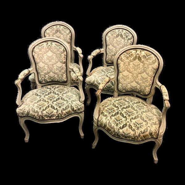 Suite de quatre fauteuils médaillon, milieu XIXe siècle