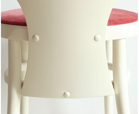 Chaise Mouette Baumann des années 70 en bois laqué blanc et velours