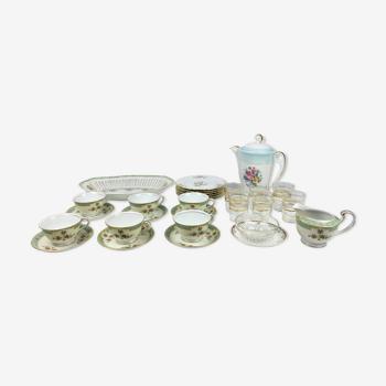 Service a the depareille - verrerie et porcelaine  - 6 couverts -23 pièces
