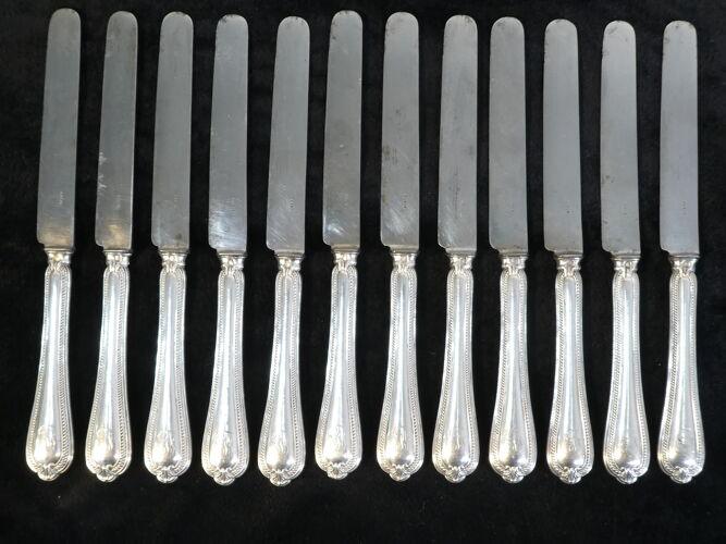 12 couteaux a dessert manche argent massif fourré minerve
