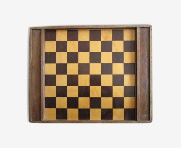 Jeu de dames et plateau d'échecs ancien en bois
