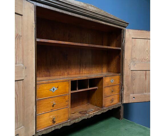 Bureau en pin peint antique ou sécréaire avec unité murale d'Allemagne à la fin des années 1800.