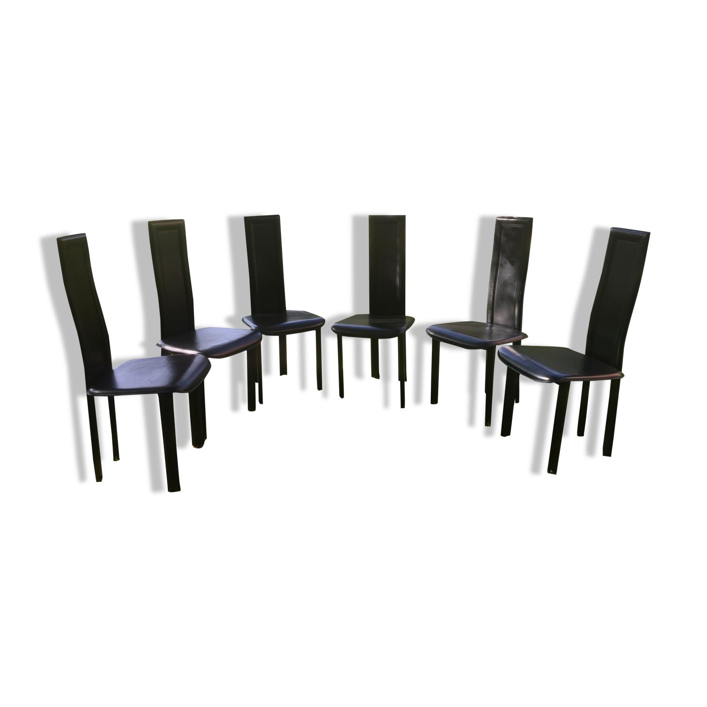Set de 6 chaises Arta Ligne Roset en cuir noir