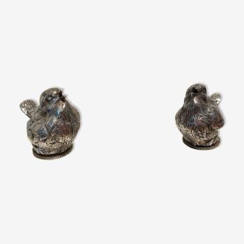 Salière et poivrière oiseaux argenté