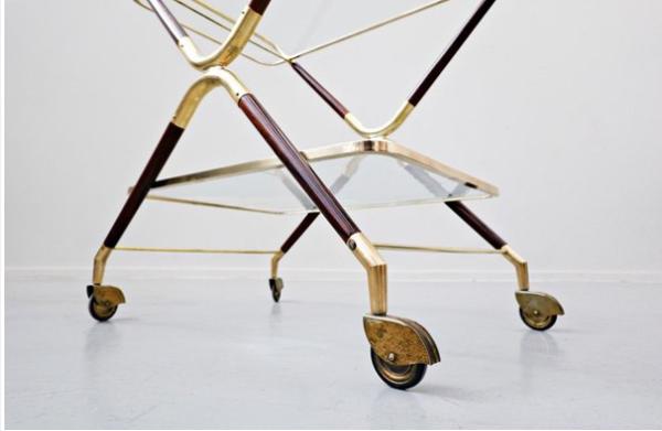 Chariot en verre et laiton par Cesare Lacca Italie 1960