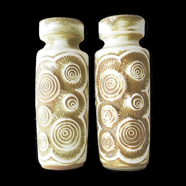 Paire de vases fossile céramique BAY Allemagne 1960 vintage