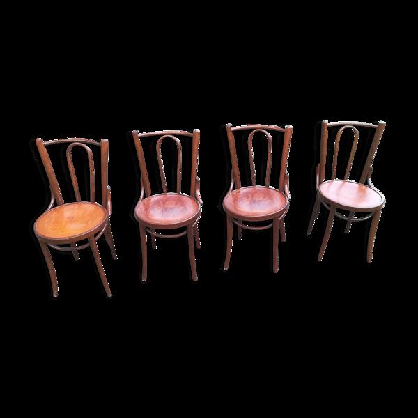 Lot de 4 chaises bistrot Art déco assises sérigraphiées