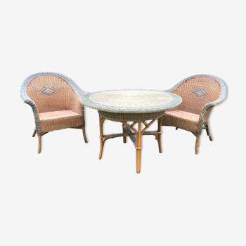 Ensemble table et 2 fauteuils rotin