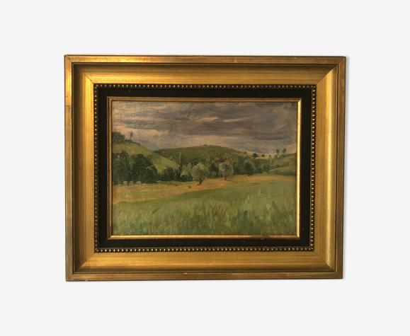 Paysage champêtre ancienne huile sur panneau