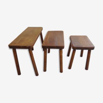 Scandinavian trundle table dutch oak year 60