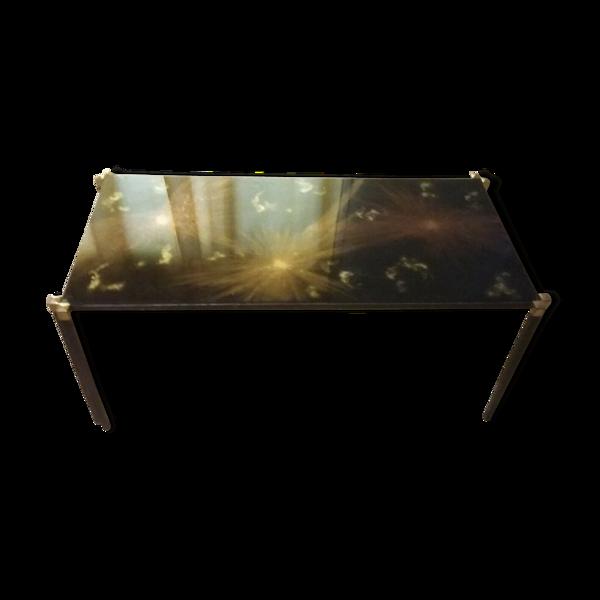 Table basse Sasco 1960 en verre eglomisé