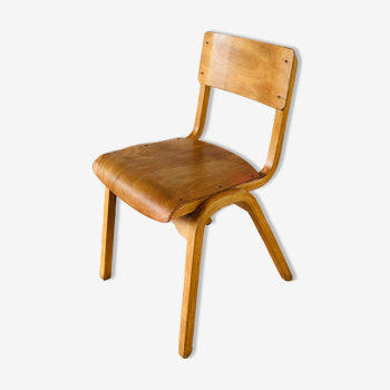 Chaise d'école anglaise vintage en bois courbé