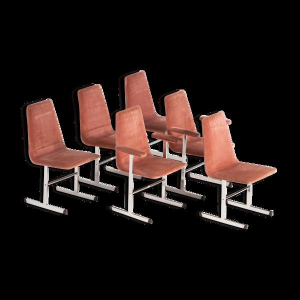 Chaises de salle à manger rétro vintage en tissu rose par pieff, set de 6