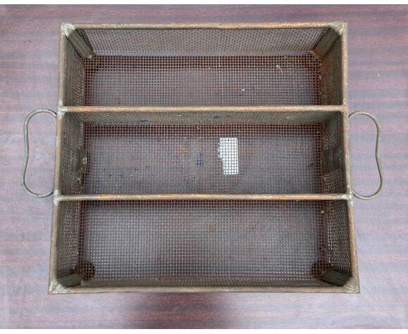 Corbeille à poignées en acier oxidé - 3 compartiment