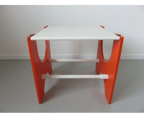 Bureau enfant Fratelli Reguitti, orange et blanc années 70