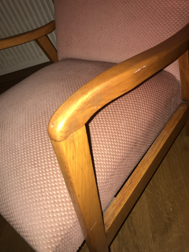 Armchair from 1960 old pink cherry wood