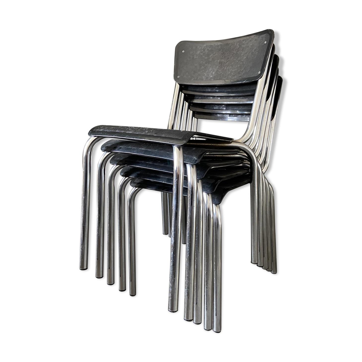 Lot de 5 chaises empilages C59 de Pierre Guariche éditées par Meurop