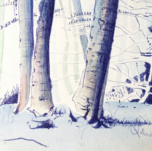 Illustration forêt bleue par Lilou, œuvre originale