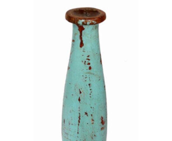 Bougeoir haut bois vieux teck patine bleue d'origine ancien pied de charpoy lit indien