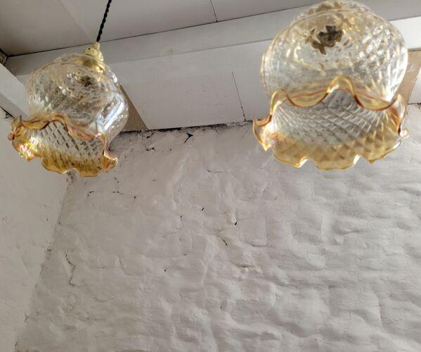 Duo de suspensions en verre strié