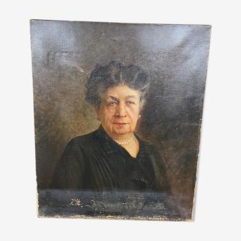 Huile sur toile portrait de femme signé