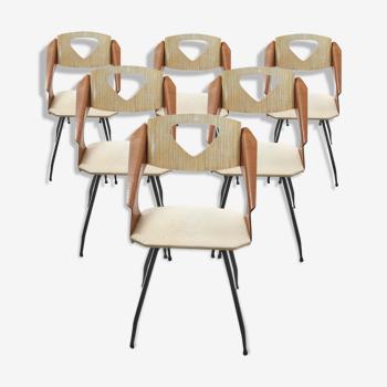 Ensemble de chaises à manger par Carlo Ratti pour Industrial Legni Curva, Italie - années 1950