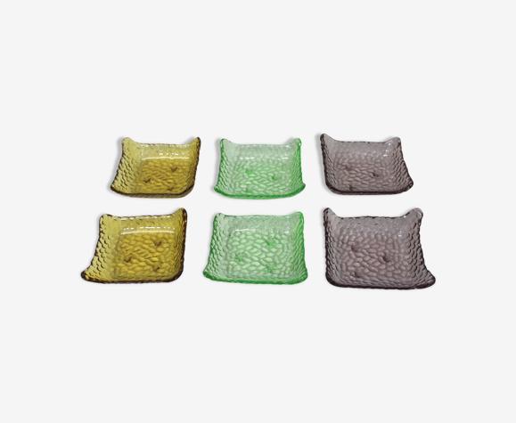 Coupelles multicolores en verre vintage