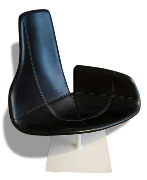 Selency Moroso fauteuil fjord cuir noir