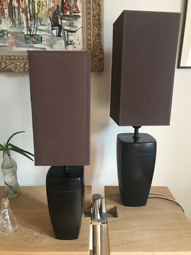 Paire de lampes en céramique marron avec abat jour