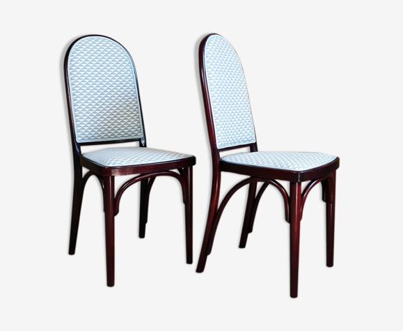"""Paire chaises bistrot Kohn """"Hoffmann"""" début XXe"""
