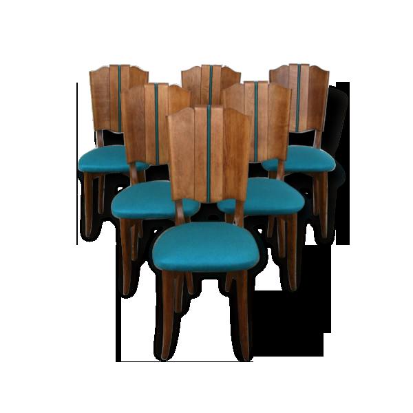 Selency Un lot de 6 chaises turquoises entièrement rénovées.