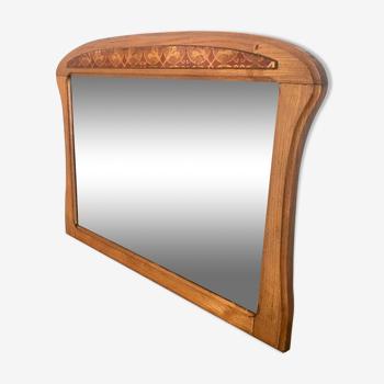 Miroir vintage chêne années 40 style art déco 71x52cm