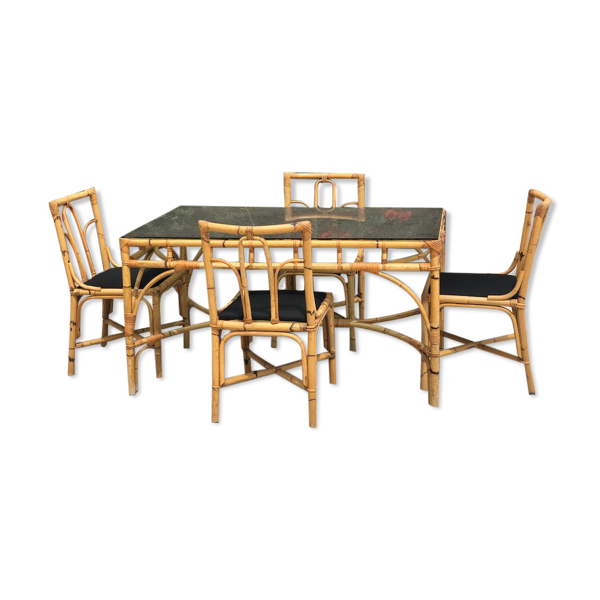 Ensemble table et chaises Dal Vera bambou et rotin 1970