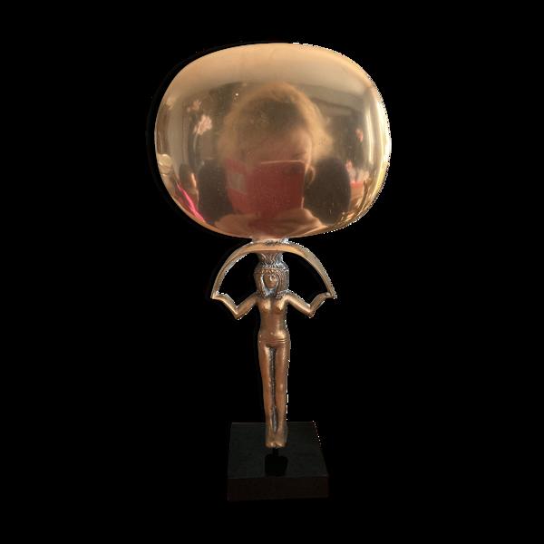 Miroir égyptien en bronze  14x27cm