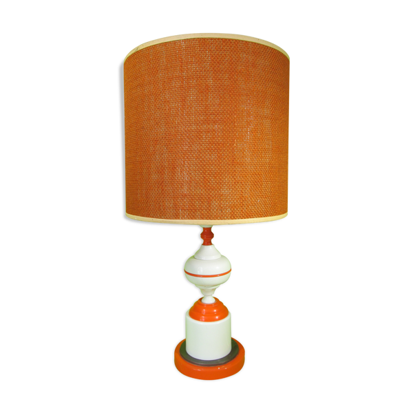 Lampe de table de chevet vintage marquée DD, orange et blanche avec abat jour d'origine Années 1970