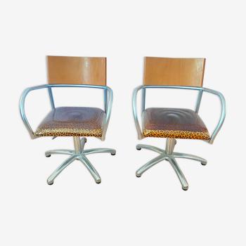 Paire de fauteuils 1980 réglables en hauteur