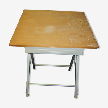 Foldable architect's drawing table and drawer