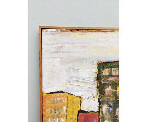 Peinture à l'huile abstraite vintage du milieu du siècle - Couleur de l'horizon