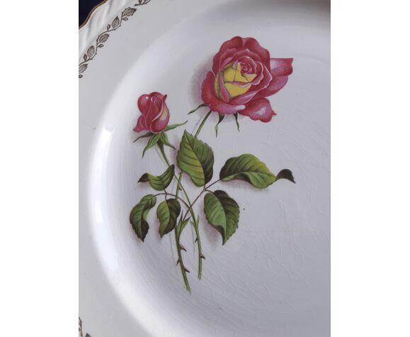 Plat rond en faïence l'amandinoise 8996 motif roses roses diam 27,5 cm